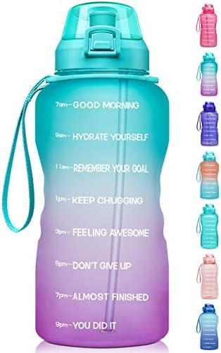 Leakproof Water Bottles BPA Free Water Bottle Handle/&Straw Drink Water Bottle Time Marker for Sports Fitness outdoor Yellow Blue