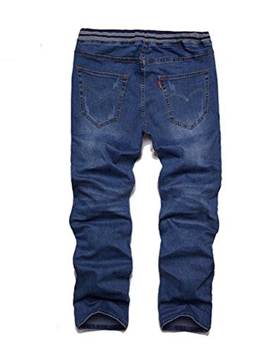 Mince Heheja Élastique Jeans Denim Pantalon Grande Foncé Loisir Taille Homme Bleu Rpp4xnYPwT