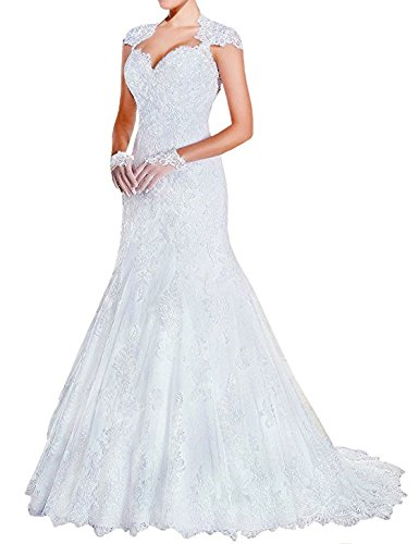 Lace Long Wedding Dress Sleeveless Sweetheart Mermaid With Applique White (size16) by Generic