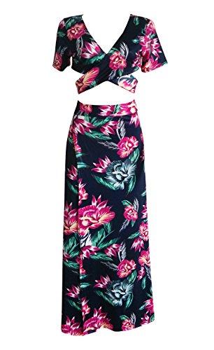 Long Skirt Set (Bigyonger Women's Crop Top Maxi Skirt Set 2 Piece Outfit Bandage Nightclub Dress (Small, Rose))