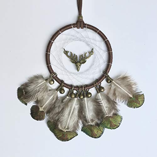 Dainty Adornments Mini Elk Dream Catcher | Bronze Deer with Bells | Perfect for Home, Office, Auto, etc Green Brown (Green ()