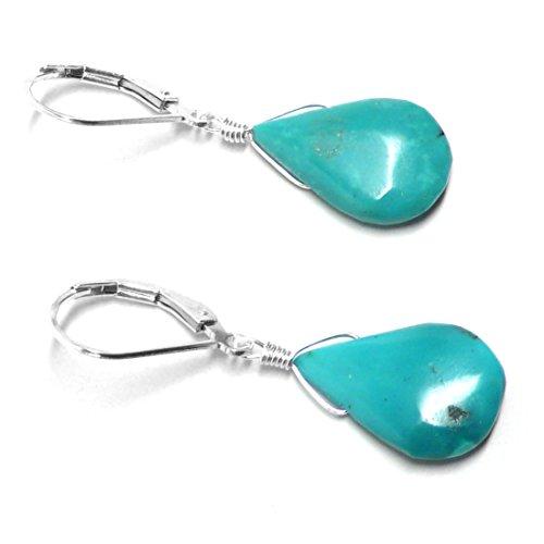 Immunity Gland Thymus - Turquoise Flat Teardrop Sterling Silver Lever Back Earrings
