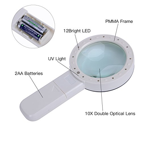 Extra Large Handheld Strong Magnifying Glass with 12 LED and UV Light,XYK 20X Best Jumbo Size Illuminated Magnifier for Reading,Inspection,Exploring,Hobbies and Currency Detecting (White) Photo #6
