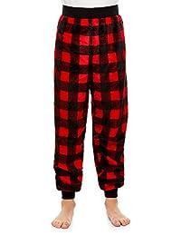 Boys Pajama Bottoms | Cozy Flannel Fleece Buffalo Jogger Style PJ Pants - M