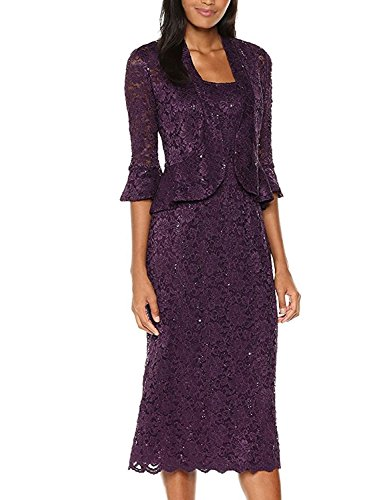 (RM Richards Women's Sequin Lace Midi Dress with Jacket - Mother of The Bride Wedding Dresses (20, Plum))