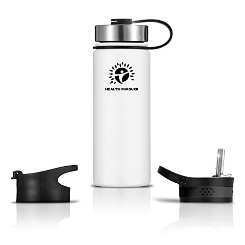 Heavy Duty Plastic Water Bottle - Stainless Steel Water Bottle/Thermos: ​18 Oz.​ Double Walled Vacuum Insulated Wide Mouth Travel Tumbler, Reusable BPA Free Twist Lid Bottles for Hot or Cold Liquid: Bonus Flip & Straw Lids - ​White