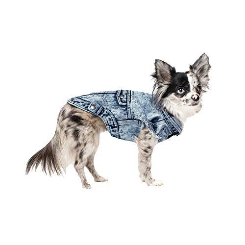 Canada Pooch Downtown Denim Vest, Blue, Size 16 (Pooch Vest Canada)
