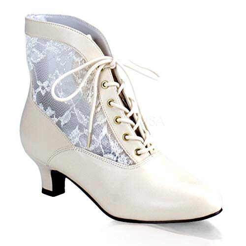 Funtasma by Pleaser Women's Dame-05/IV Ankle Boot,Ivory Polyurethane,9 M US ()