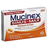 Mucinex Sinus-Max Pressure and Pain Caplets, 20 Count - Pack of 6