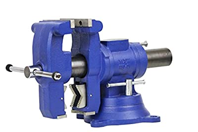 "Yost Vises 750-DI 5"" Heavy-Duty Multi-Jaw Rotating Combination Pipe and Bench Vise with 360-Degree Swivel Base and Head"