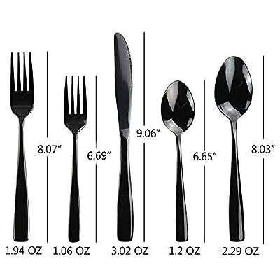 Teyyvn 60-Piece Black Stainless Steel Flatware Silverware Cutlery Set, Service for 12