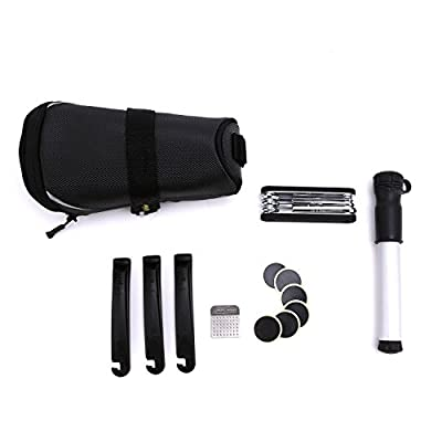 VINQLIQ 11 in 1 Multifunctional Bike Bicycle Outdoor Emergency Tire Repair Maintenance Tool Kits Set with Seat Pack, Compact, Lightweight, Carriable for Mountain, Road, City and BMX Bike
