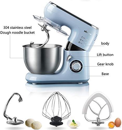 Kitchen Appliances Standmixer, Elektrischer 6-Gang-Küchenmixer 1000W Mit Edelstahlschale, Teighaken, Schläger, Schneebesen