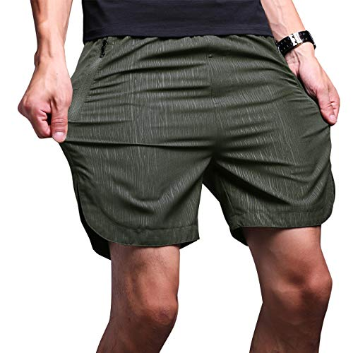 LTIFONE Mens Gym Quick Dry Shorts Workout Training Running Vertical Stripe Shorts with Zipper Pocket (Army Green,S)