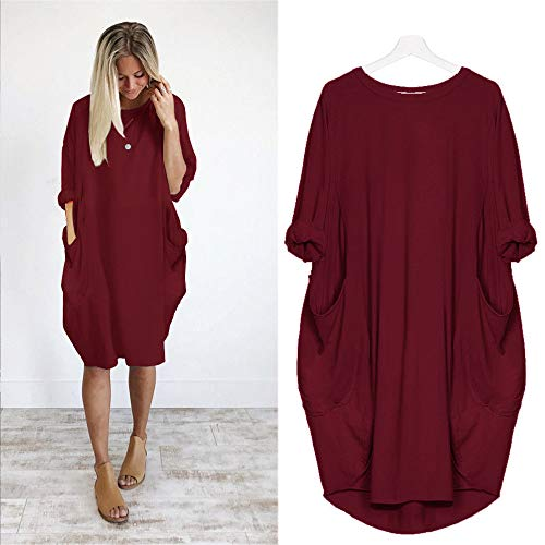 Franterd Womens Pocket Loose Dress, Ladies Plus Size Casual Long Tops Dress