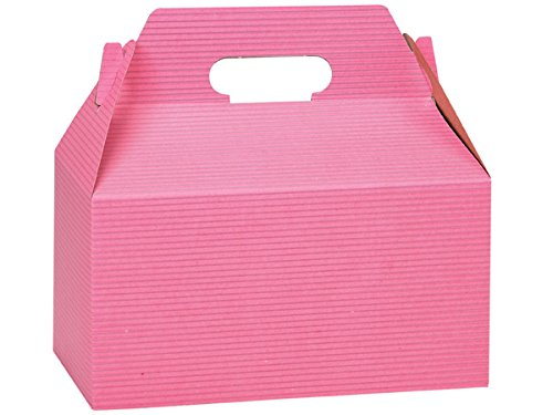 Pack of 125, Pink Pinstripe Gable Boxes 9.5 x 5 x 5'' for Unique Presentations & Food Packaging by Generic