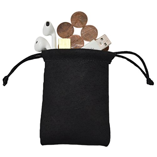 Sheepskin Coin/Heaphones / Valuables Travel Small Board Games Dice Pouch Handmade by Hide & Drink :: Black