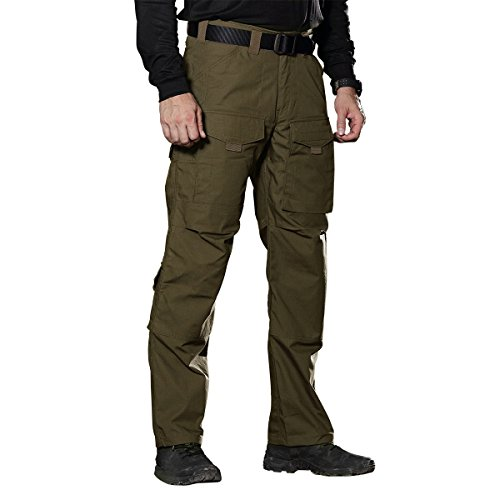 FREE SOLDIER Outdoor Men Teflon Scratch-resistant Pants Four Seasons Hiking Climbing Tactical Trousers (Dark Green, 37.5W Large)