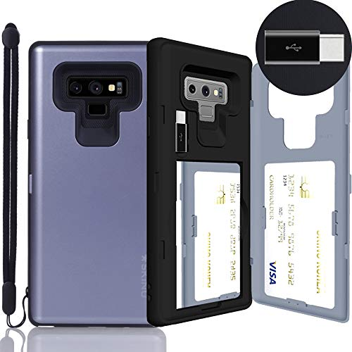 Galaxy Note 9 Case, SKINU [Note 9 Wallet Strap] Note 9 Charger Dual Layer Hidden Credit Holder Card Case with Wrist Strap Inner USB Type C Adapter and Mirror for Galaxy Note 9 (2018) - Orchid Gray