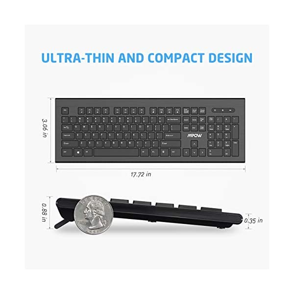 VicTsing Wireless Keyboard and Mouse Combo, 2.4GHz Wireless Connection with Nano USB Receiver, Full Size & Ultra Thin…
