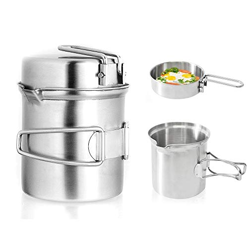 Qunlei Camping Cookware Mess Kit, Stainless Steel Complete Lightweight Folding Kit for Camping Hiking & Backpacking for 1-2 adult by Qunlei