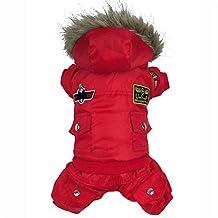 Befamous Design Pet Dogs Winter Coat, Pet Cat Dog Air Force Man Pilot Fleece Lining Winter Coat Jumpsuit Jacket Clothes Red