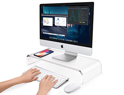 AboveTEK Premium Acrylic Monitor Stand, Custom Size Monitor Riser/Computer Stand for Home Office Business w/Sturdy Platform, PC Desk Stand for Keyboard Storage & Multi-Media Laptop Printer TV Screen (Computer Inch 20 Desk)