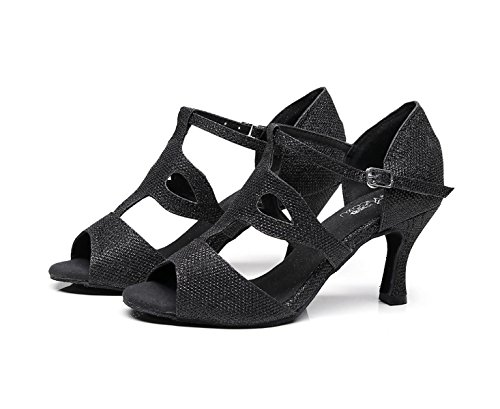 JSHOE Femmes Sexy Salsa Jazz Danse Chaussures Ballroom Latin Tango Party Danse Chaussures Talons Hauts,Gold-heeled7.5cm-UK5/EU37/Our38