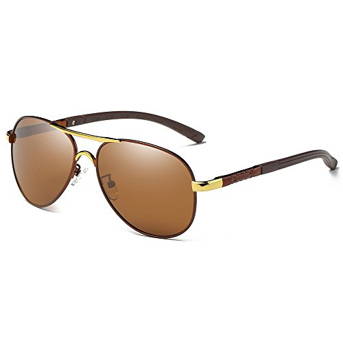 WELUK Men's Classic Avaitor Polarized Sunglasses Metal Frame with Spring Hinges 57MM - Bear Wearing Sunglasses