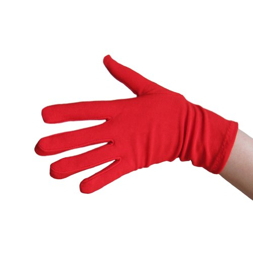 Red Costume Gloves (Wrist Length) ~ Halloween Costume Accessories (STC12078) (Halloween Glove Red)