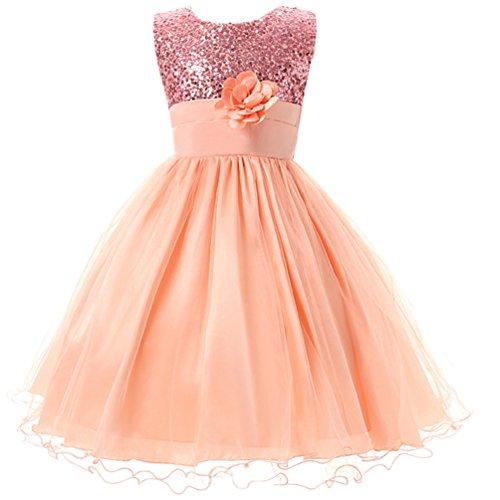 e4ab78055b147 Csbks Little Girls Flower Sequin Princess Tulle Party Dress Birthday Ball  Gowns 8 Pink