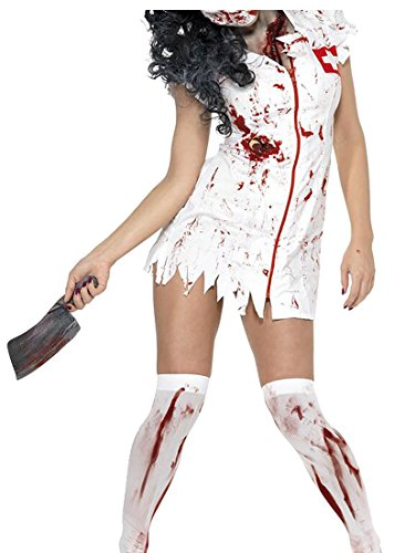 Nurse Uniform Fancy Dress (Alion Women's Halloween Nurse's Uniform Cotton Zipper Costume Dress White XS)