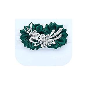 loveinfinite Artificial Diamond Silk Ribbon Flowers Wrist Corsage for Bridesmaid Bracelet Flower Bracelet Hand Mariage Wedding Ceremony Party,Dark Green 57