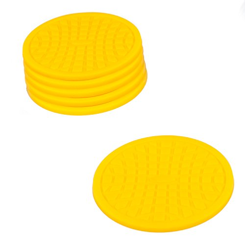 Coasters by Simple Coasters - The Best Drink Coasters and Bar Drink Coasters - These Coasters for Drinks Won't Stick to Your Glass - For Indoors or Outdoors - Good for Hot or Cold Beverages (Yellow)