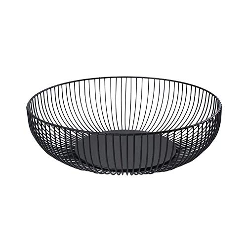 FanDuo Metal Wire Fruit Basket - Kitchen Countertop Fruit Bowl Vegetable Holder Decorative Stand for Bread, Snacks, Households Items Storage, Black