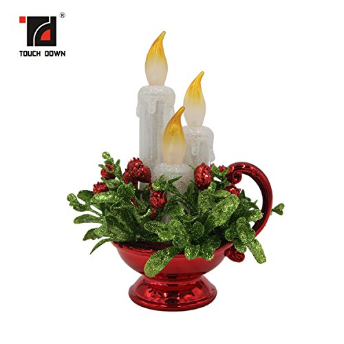 Candle Christmas Ornament (TOUCH DOWN Acrylic Glitter LED Candle Decoration,Battery Operated Flameless Candles for Seasonal & Festival Celebration,1 Pack)