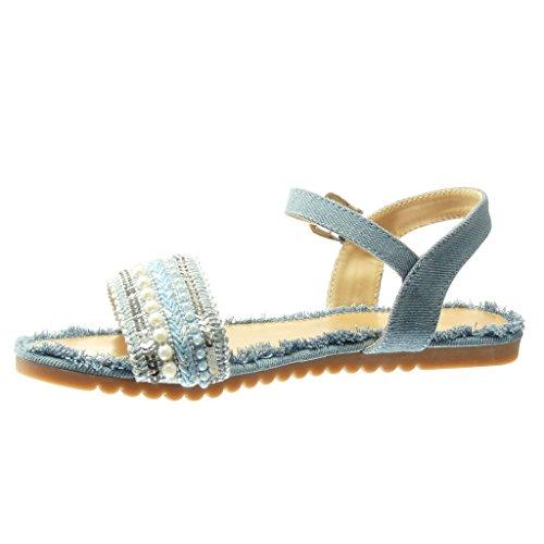 Angkorly - Zapatillas de Moda Sandalias mujer tanga brillantes multi-correa Talón tacón plano 1 CM - Azul