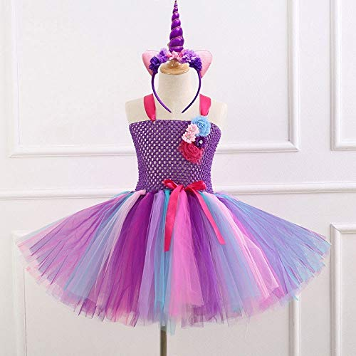 JEWH Unicorn Costume for Girls | 7 Style Flower Girls Unicorn Tutu Dress with Headband Fancy Girl Party Dress Rainbow Tulle Princess Dress Kids Halloween Costume( HD93263 - 4T) -