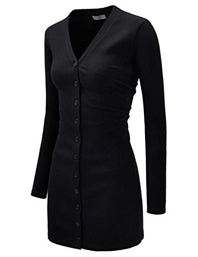 NEARKIN (NKNKWBC793 Womens Slim Cut Look Stripe Pattern Button Up Dress Long Cardigan Black US XS(Tag Size S)