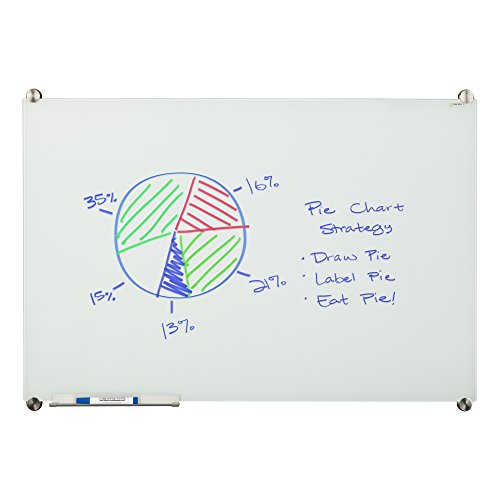 Learniture 4'x8' Glass Dry Erase Board w/ Marker Tray, Magnetic White  LNT-MGB-4896-WH-SO by Learniture