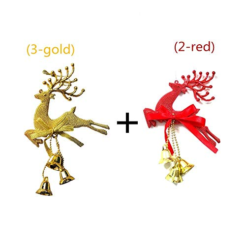 Christmas Ornaments Christmas Tree Snowflake Ornaments Elk Bell Ornaments for Home Set (2: gold/red) ()