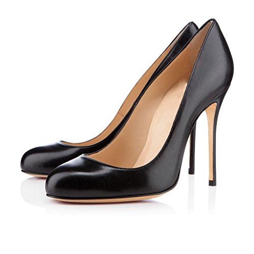 Chaussures Pu Aiguille Talon Escarpins Ubeauty Stiletto Femmes Taille Noir Rond Bout Grande CsrxhQtd