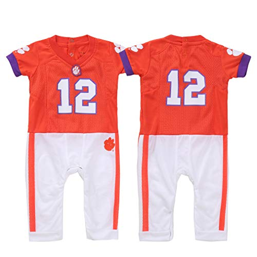 (FAST ASLEEP NCAA Clemson Tigers Boys Infant Football Uniform Pajamas, 6-9 Months, Orange/White)