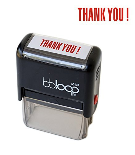 """bbloop Stamp """"THANK YOU!"""" Self-Inking. RED Ink"""