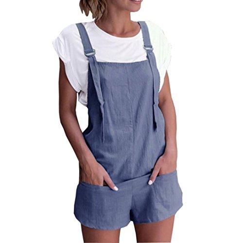 3 Dungarees (Women Elastic Waist Dungarees Linen Cotton Pockets Rompers Playsuit Shorts Pants (Size:S, Blue))
