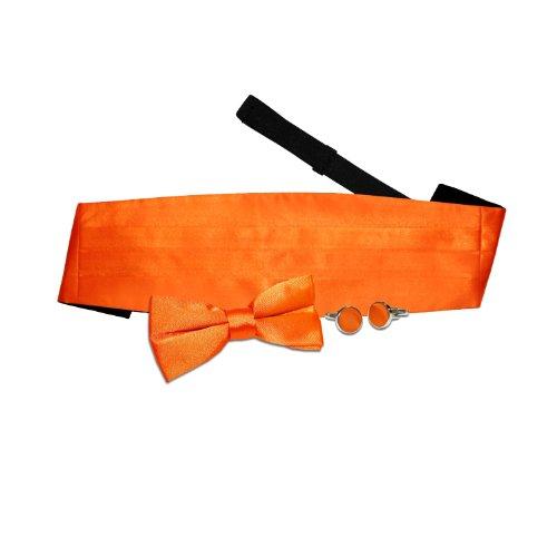 Pre Tie Cummerbund Burnt Cufflinks Orange Plain Bow Wedding DQT tied Men fxtUqqHw
