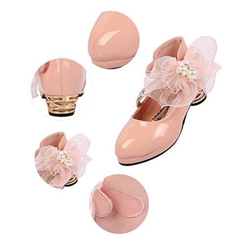 Haodasi Kinder Kids Mädchen Shallow Mouth Leder Flower Decoration Heels Prinzessin Schuhe Pink