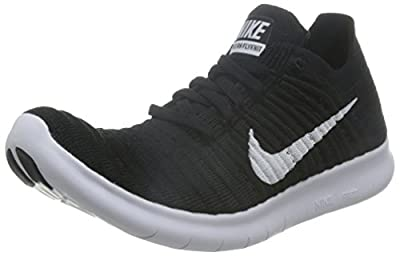 Nike Womens Free Rn Flyknit Black/White Running Shoe 8 Women US