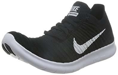 Nike Women's Free Running Motion Flyknit Shoes, Black/White - 5 B(M) US