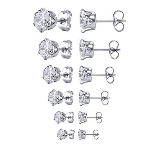 Steel Womens Stud Earrings Cubic Zirconia Inlaid,3mm-8mm 6 Pairs ()